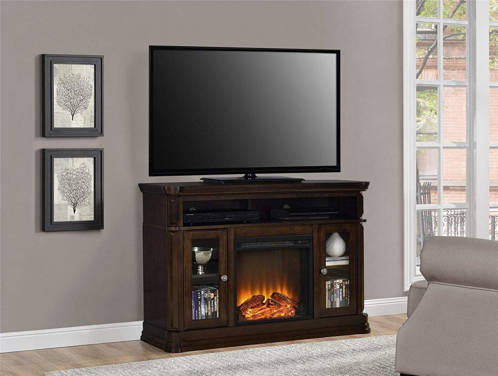 Ameriwood Home Brooklyn electric fireplace TV console