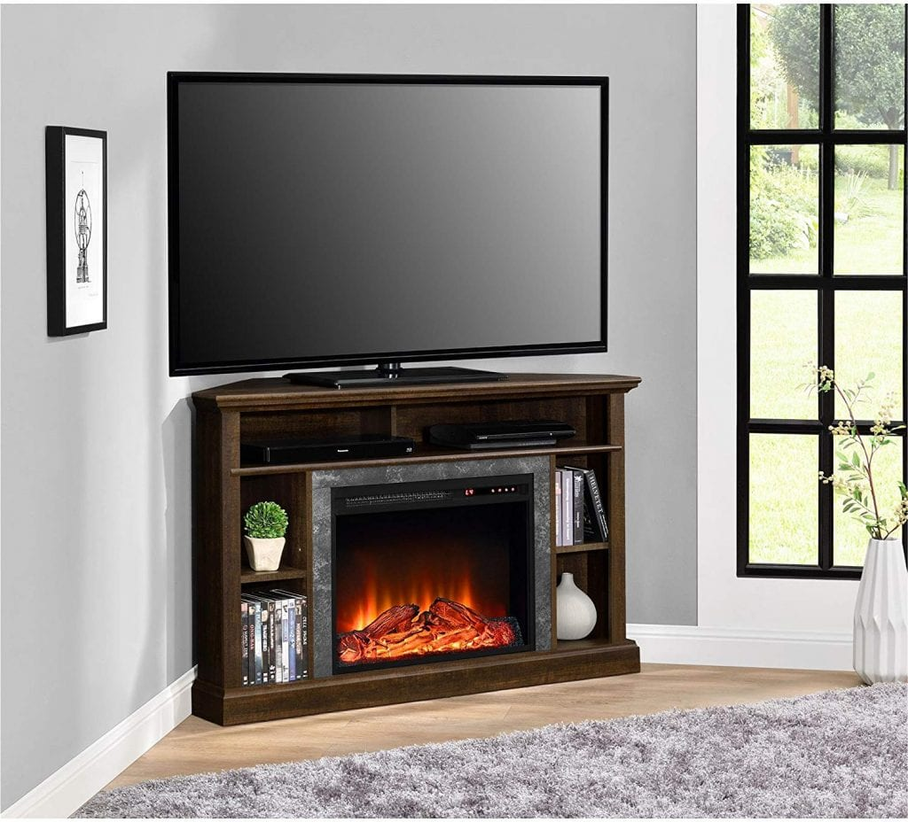 Ameriwood Home electric fireplace corner TV stand