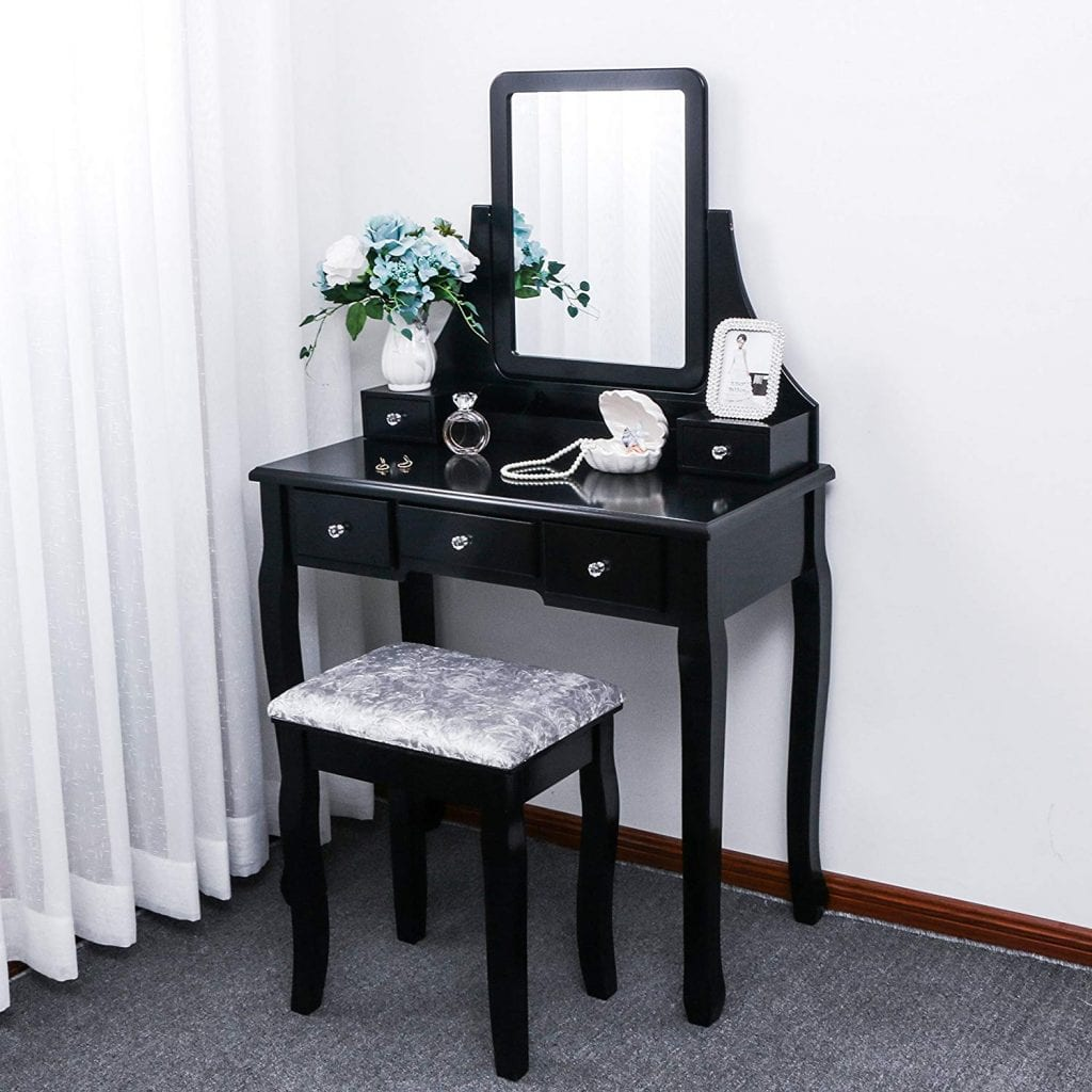 BEWISHOME Vanity Set with Mirror & Cushioned Stool
