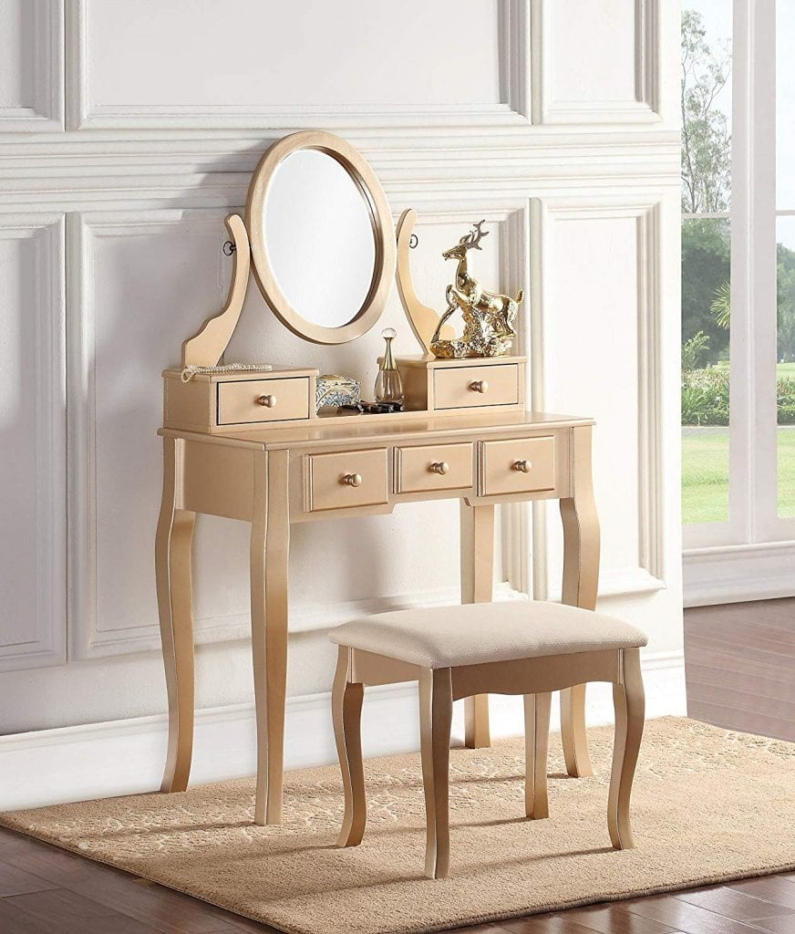 Roundhill Furniture 3418GL Ashley Wood Makeup Vanity Table and Stool Set