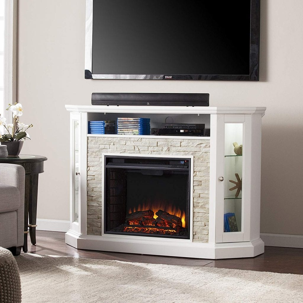 Southern Enterprises Rollins fireplace TV stand