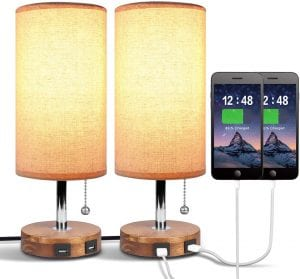 Dual USB Table Desk Bedside Nightstand Lamp