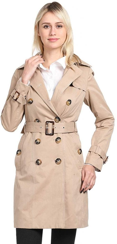 ForeMode Women's Double Breasted Mid-Length Trench Coat