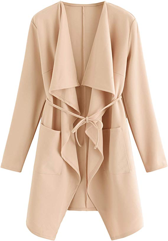 Romwe Women's Trench Pea Coat Cardigan