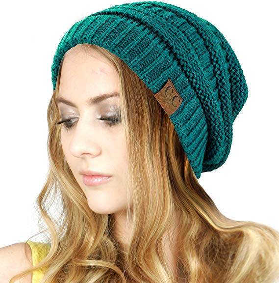Trendy Warm Chunky Soft Stretch Cable Knit Beanie by C.C