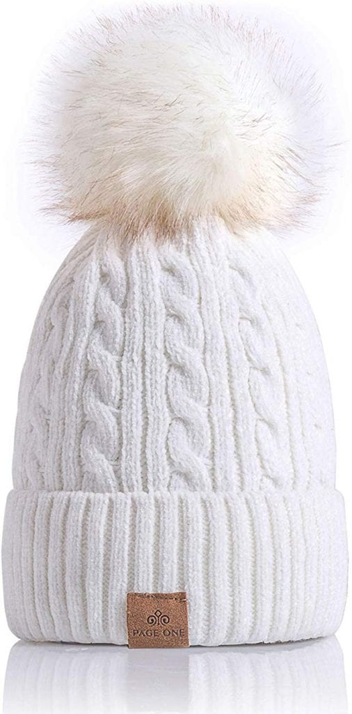 Women Winter Pom Pom Beanie Hat by PAGE ONE
