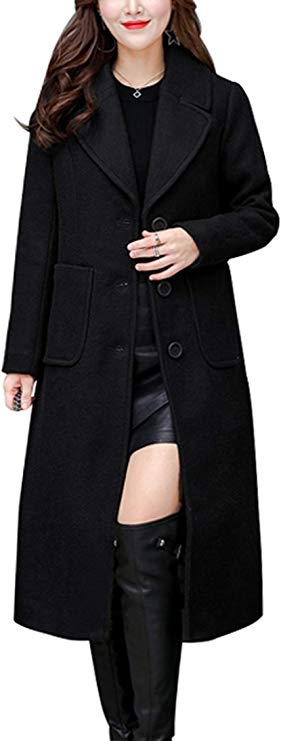 chouyatou Women's Mid-Long Wool Blend Coat