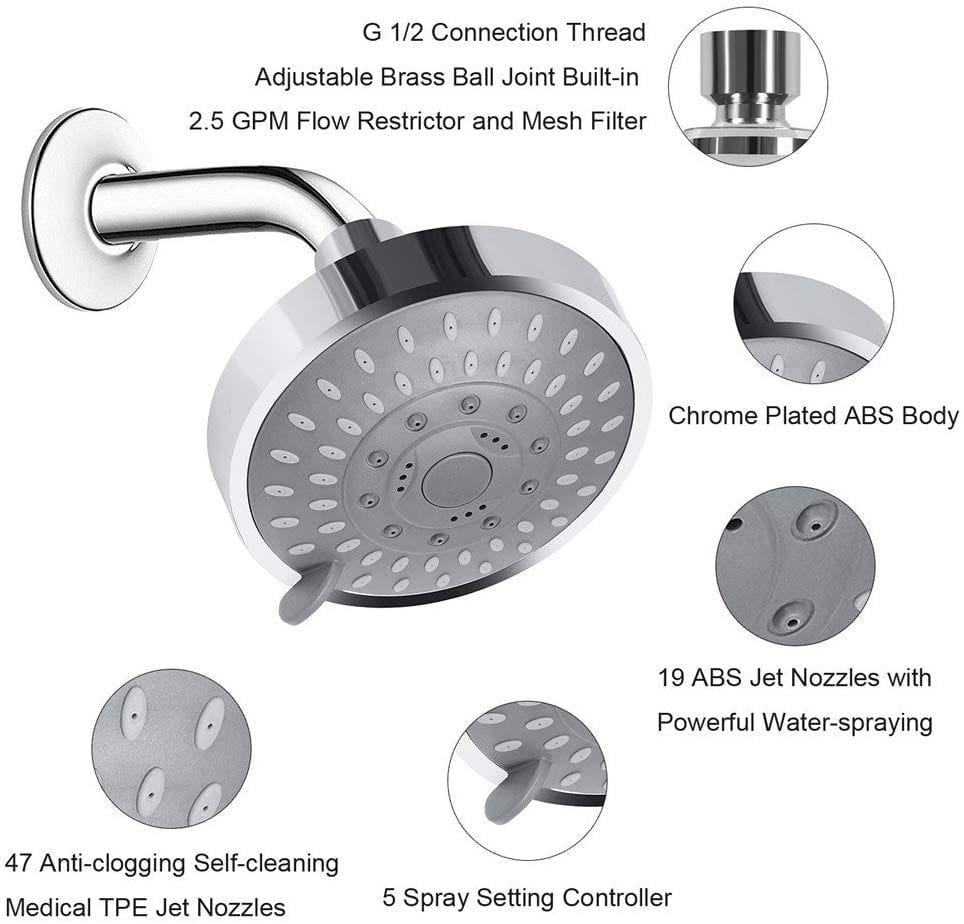 Aisoso 5 shower head settings with metal swivel ball joint
