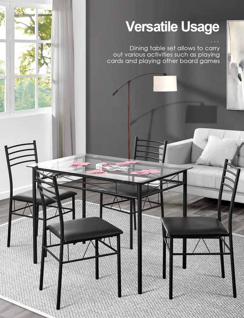 Kealive Dining Table Set with 4 Chairs