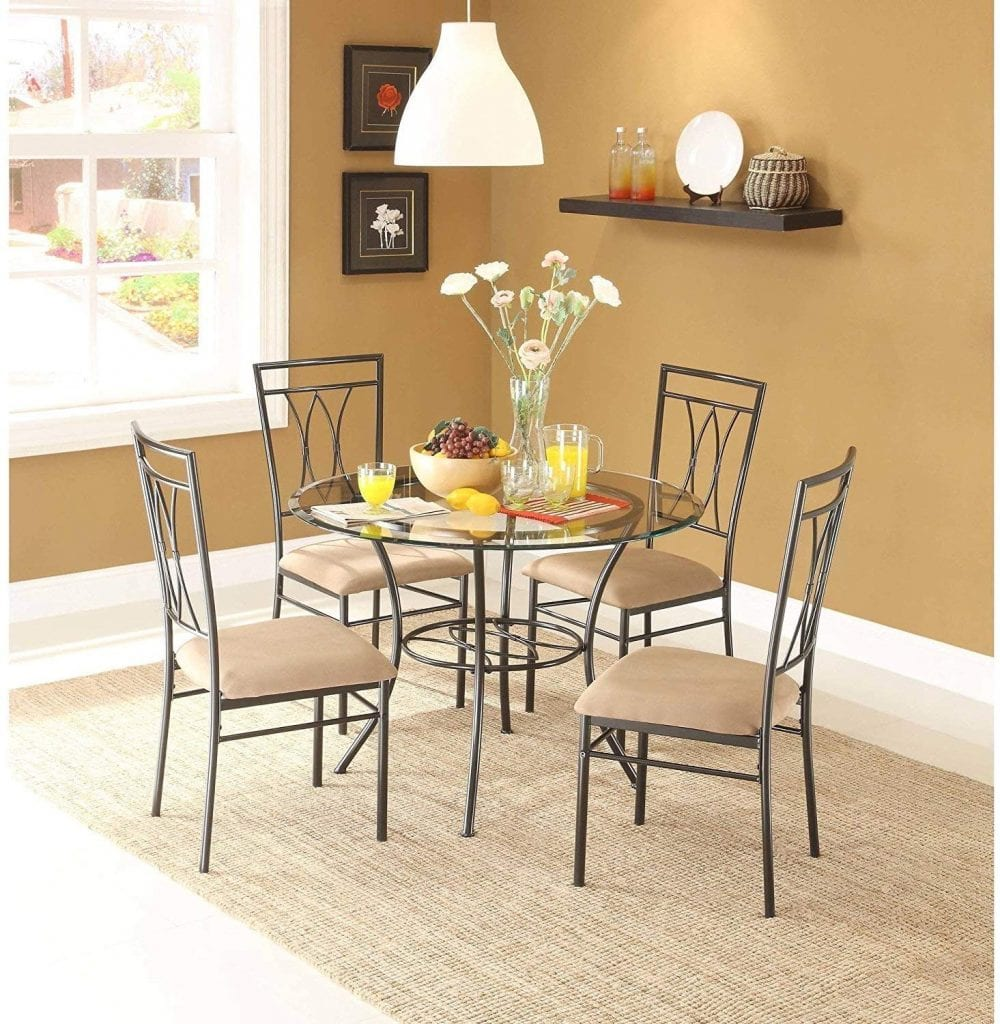 MSS 5-Piece Glass and Metal Dining Set