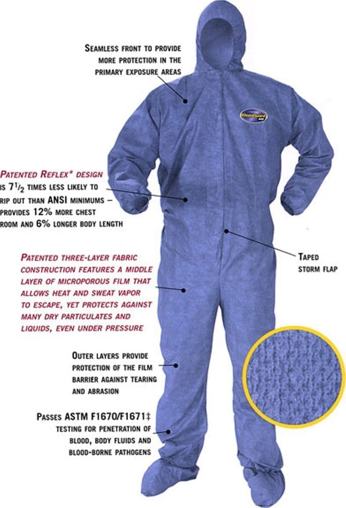 Kleenguard A60 Bloodborne Pathogen and Chemical Protective Coverall Suit Hooded and Booted