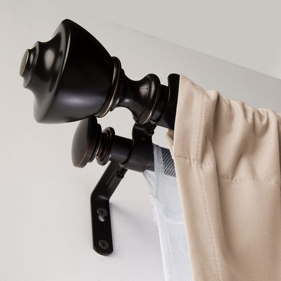 Double Curtain Rod with Urn Finials