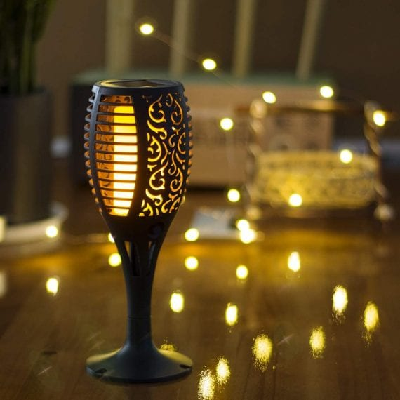 Solar torch lights with flickering flames