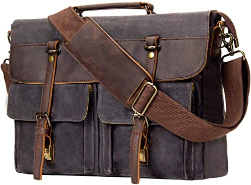 Emisary Leather Canvas Computer Briefcase Bag
