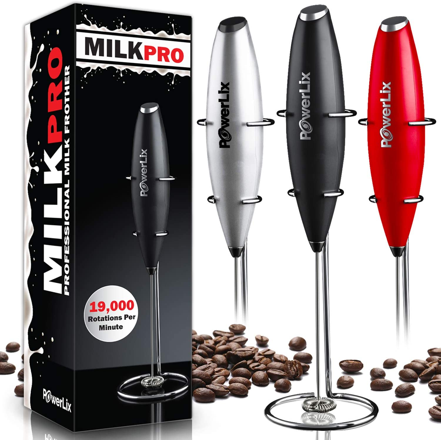 Stand Not Included Matcha /& More Double Grip Milk Frother Handheld Coffee Frother Electric Handheld Foam Maker - Silver Milk Boss Batteries Included Frother For Coffee Electric Whisk Latte