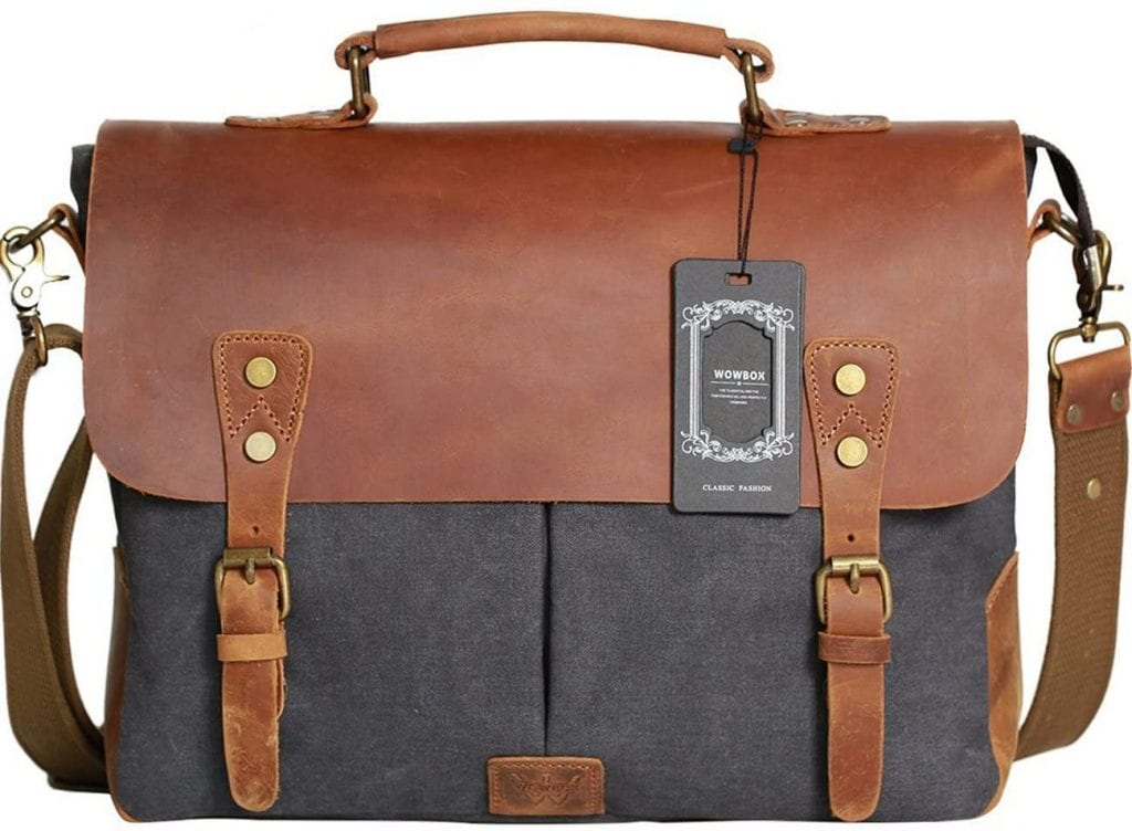 WowBox Everyday Men And Women Canvas Vintage Leather Bag