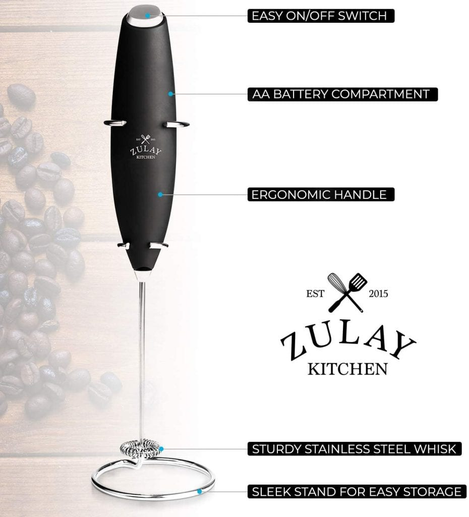 Zulay Kitchen Black Handheld Foaming Whisk Milk Frother