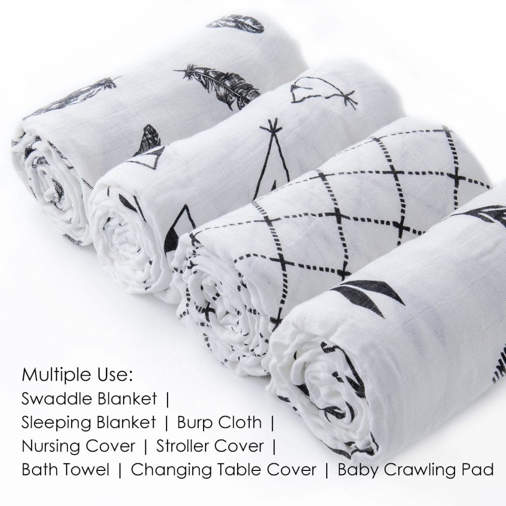 upsimples Feather/Arrows Silk Soft Muslin Large 4 Sets Baby Swaddle Blankets