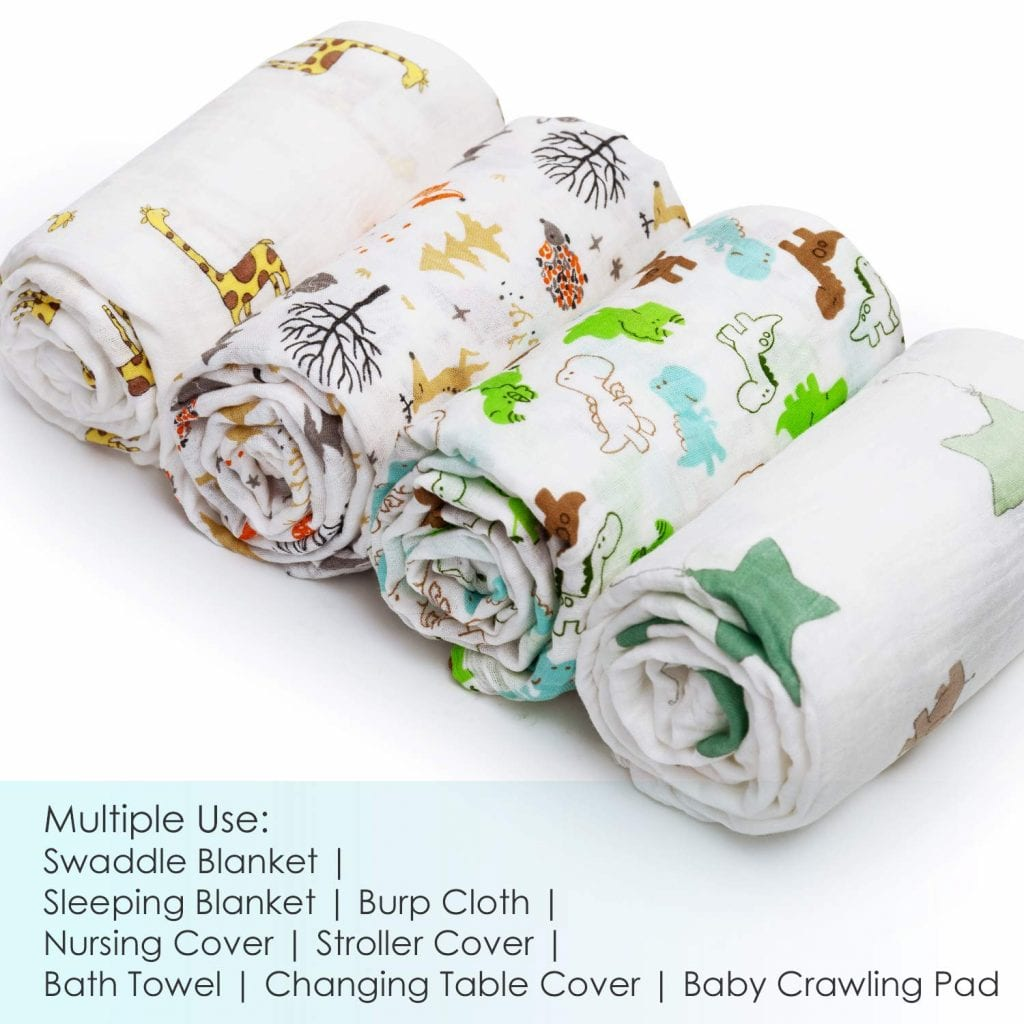 upsimples Muslin Neutral Unisex Wrapping Blankets For Girls & Boys