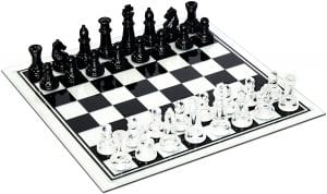WE Games Black & Clear Glass Chess Set