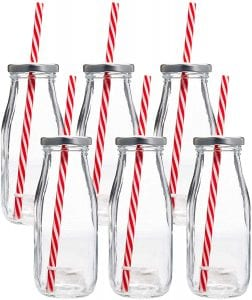 Estilo Glass Milk Bottles with Straws