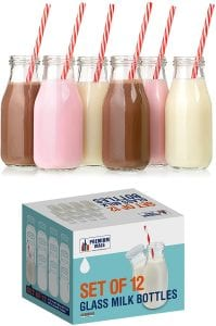 Premium Vials Glass Milk Bottle Set