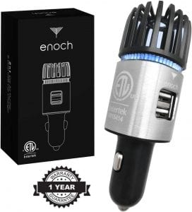 Visit The Enoch Store 2 Charger Port Silver Ionic Car Deodorant
