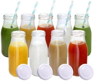 YEBODA Glass Milk Bottles with Metal Twist Lids